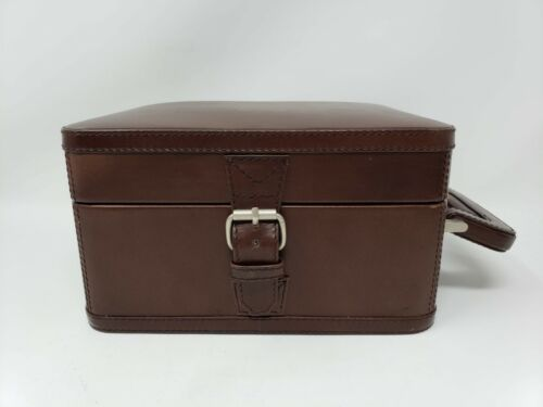 Vintage Pottery Barn Travel Cocktail Bar Brown Leather Case Only