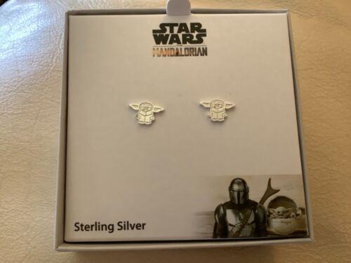 DISNEY + Star Wars The Mandalorian Sterling Silver Baby Yoda Earring Studs