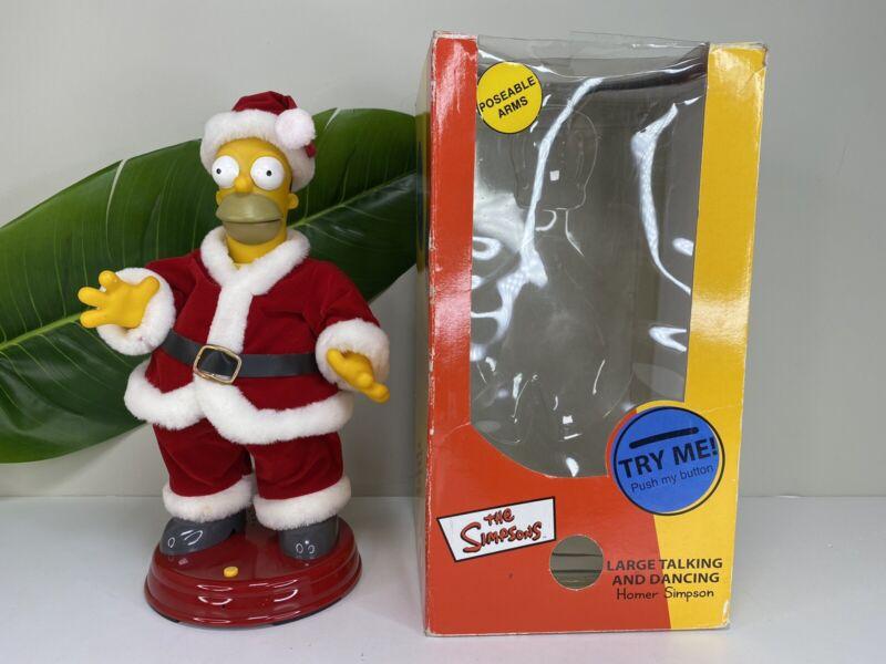 "The Simpsons 2002 14"" Animated Talking Singing Dancing Homer Christmas Santa"