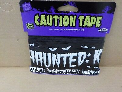 FUN WORLD BLACK HAUNTED KEEP OUT CAUTION TAPE HALLOWEEN DECORATION NEW #11631 - Caution Keep Out Tape
