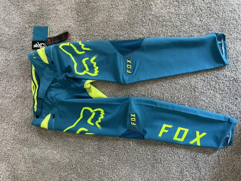 fox racing mtb airflex pants 34 Blue/neon Gren Mountain Biking Pants
