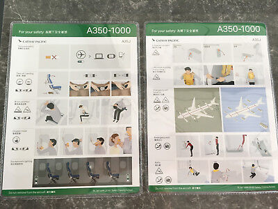 Cathay Pacific Airways Airbus A350 1000 Safety Card Rare