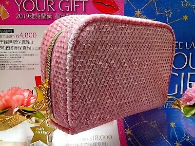 ✰Best Brand New Gift✰ ESTEE LAUDER ✰☾Pink Flannel Cosmetic Bag☽✰~✰