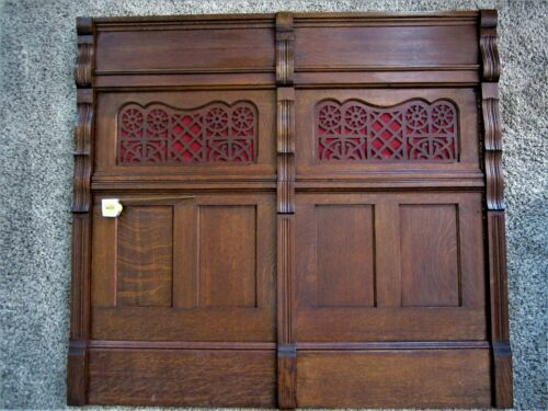 HUGE! Tiger Oak Architectural Church Panel Victorian Fretwork Gothic Wainscot