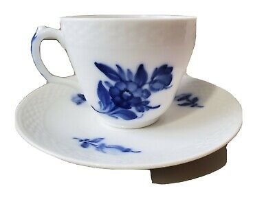 Royal Copenhagen BLUE FLOWERS Braided Cup & Saucer #8046