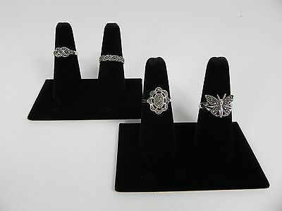 Two 2-finger Ring Display Black Velvet Jewelry Showcase Rings