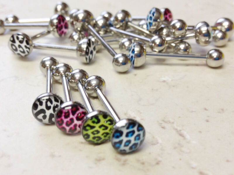 T#119 - 20pc Leopard Skin Logo Tongue Rings Wholesale Tounge Body Jewelry