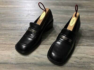 Vintage Gucci 90s Black Leather Chunky Loafer Square Toe Heel Size 5B