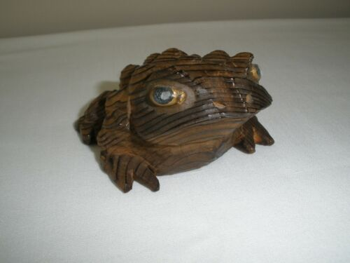 Vintage Mid-Century Modern Cryptomeria Hand-Carved Japanese Cedar Wood Toad/Frog