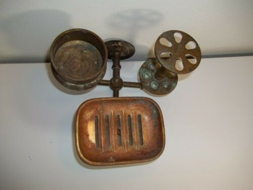 VINTAGE SOLID BRASS TOOTHBRUSH SOAP CUP HOLDER, WALL MOUNT