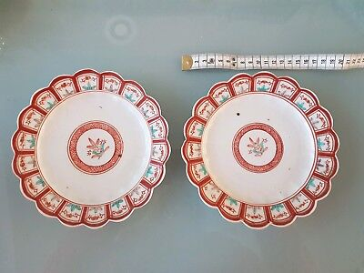 2 x Japenese Early 19th Century Arita Side Plates With An Imari Palette