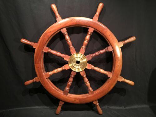 "36"" 8 Spoke Vtg Wood Brass Nautical Ships Wheel Maritime Yacht Boat Marine Decor"