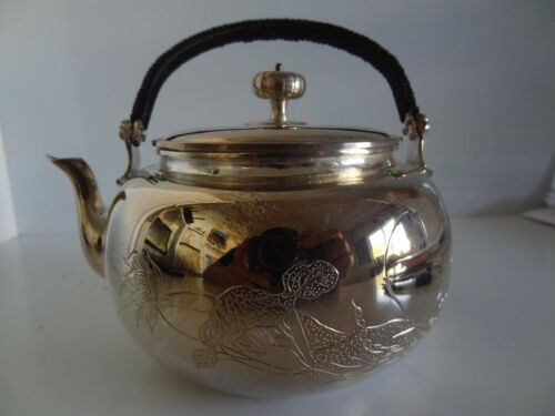 ASIAN ORIENTAL  CHINESE FINE SILVER TEA POT MARKED .9999