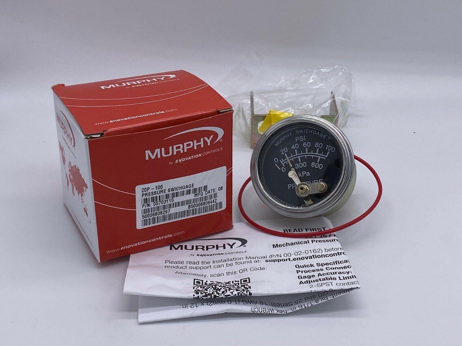 MURPHY 100 PSI OIL PRESSURE GAUGE 20P-100 CONSTRUCTION EQUIPMENT /& WOOD CHIPPERS