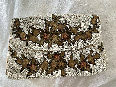 1920s Handbags, Purses, and Shopping Bag Styles 1920s 1930s Beaded Flap Purse Antique Silk White Brown Floral Made In France Vtg $58.02 AT vintagedancer.com