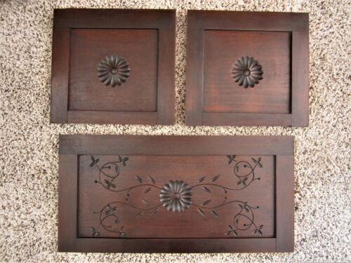 NR MINT! 3 Spoon Carved Walnut Eastlake Furniture Panels Victorian Door Pediment