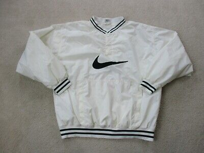VINTAGE Nike Jacket Adult Extra Large White Green Swoosh Pullover Coat Men 90s *
