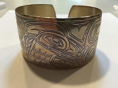Vintage Tlingit Silver Bracelet Lincoln Wallace Original Juneau Alaska Signed