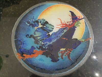 Retired Peggy Karr Halloween Witch On Broomstick Plate 11 1/4