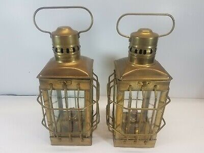 Vintage Antique Brass Lantern Caged Oil Lamps Nautical Ship Cargo Lights INDIA
