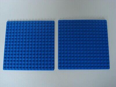 LEGOS 2 Blue Base Plates 16 Dot x 16 Dot