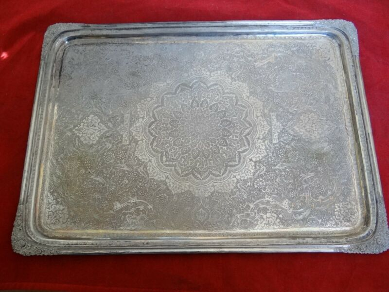 Exclusive Estate Highly Decorated Persian Islamic 84 Silver Serving Tray