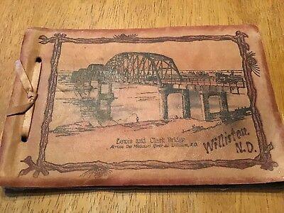 Vintage Williston North DAKOTA Souvenir Photo Album Lewis Clark Bridge Postcard