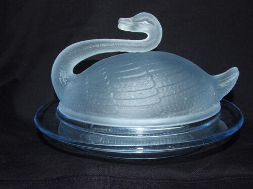 Sowerby Roslyn Blue Glass Swan Butter Dish