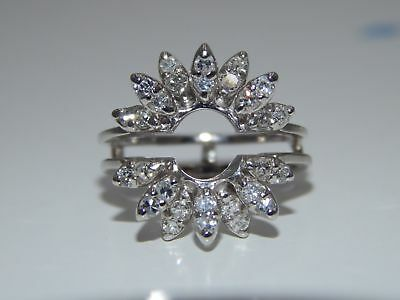 Vintage Diamond Engagement Wrap Setting Holds Round Stone Ring Guard