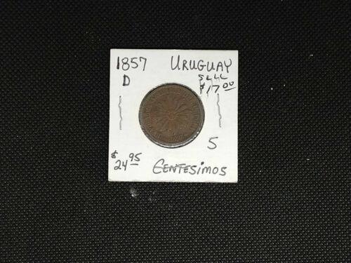 1857-D Uruguay 5 Centesimos High Grade