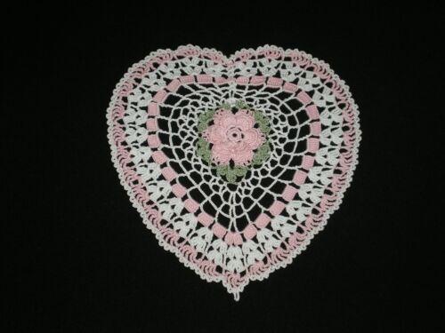 New Handmade Crocheted Doily Valentines Heart/Rose