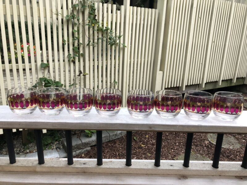 Vintage Culver 8 Cranberry Scroll Root Poly Glasses