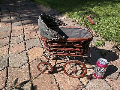 Vintage Baby Doll Carriage Stroller Original Canvas, Wicker and Wood Wheels Pram