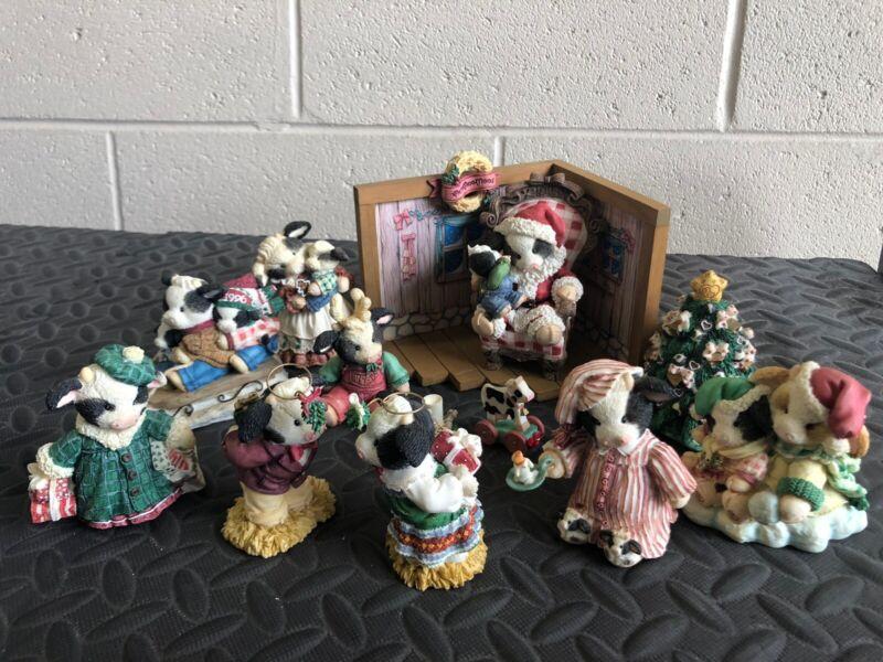 Marys Moo Moos by Enesco~CHRISTMAS corner display AND 9+ figurines