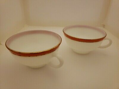 Pyrex Flamingo Pink Rim with Gold Trim Cups Lot of 2 Gold Trim Rim