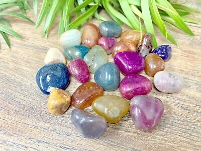 1/2 lb Multi Color Agate Tumbled Stones Mixed Crystal Therapy Gemstone Specimen