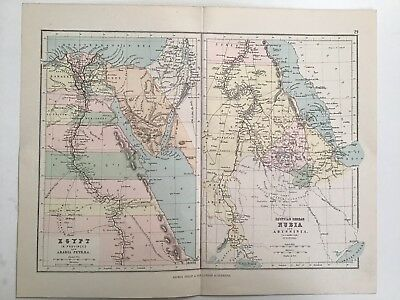 Egypt in Provinces And Egyptian Soodan, 1881 Antique Map, Philips, Original