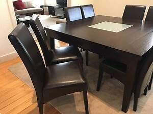 Solid dining table, dark brown, 8 classy leather chairs Glenroy Moreland Area Preview