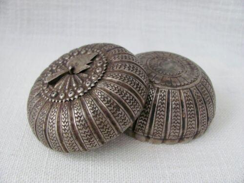 Thai / Southeast Asian Antique Mangosteen / Pumpkin Silver Box / Container