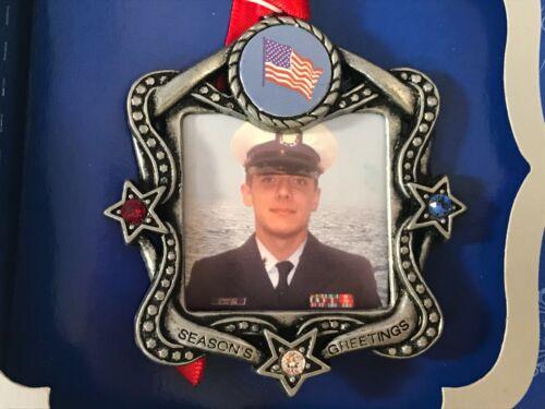 Christmas photo ornament US Flag Military hero Duchin stars gems EX5666