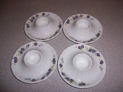 SET OF 4 EGG CUPS WITH ATTACHED UNDER PLATE PURPLE FLOWERS WHITE PORCELAIN  Porcelain Egg Cup Set