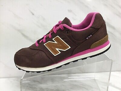 New Balance 574 Girls Brown Pink Running Casual Shoes Youth Size 7 Excellent