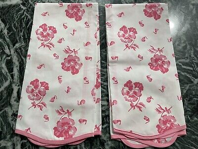 D Porthault Pensees Pink White Guest Hand Towel Handprinted Cotton Pansies