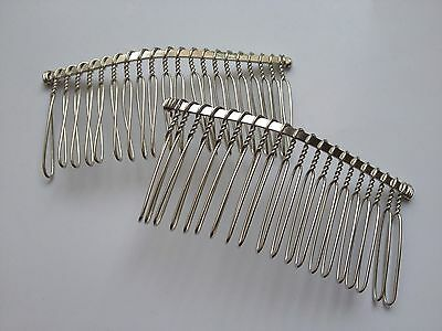 10 pcs Silver Tone Hair Combs Teeth Bow Hair Clips Craft Wedding Comb Accessory Craft Hair Combs