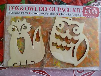 Fox and Owl decoupage kit, new, unopened