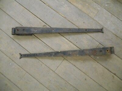 Original reclaimed wrought iron/steel   heavy duty wooden gate hinges pair