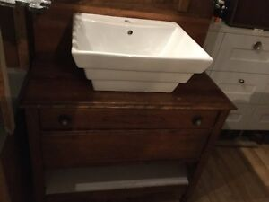 Bathroom vanity cabinet with sink and mirror - available