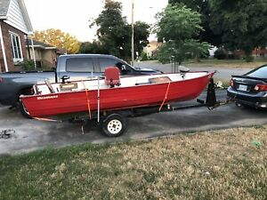 17ft aluminum boat  9.9 engine, fish finder and trailer! TRADES!