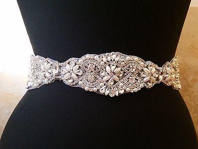 "Wedding Belt, Bridal Sash Belt - Crystal Pearl Sash Belt = 15"" long"