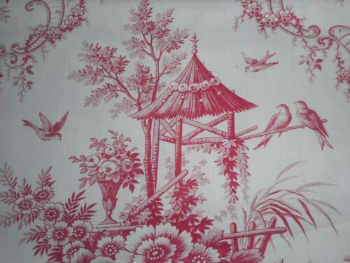 Antique 19thc Floral Bird Pagoda Toile Cotton Fabric ~ Berry Red Pink ~ picotage